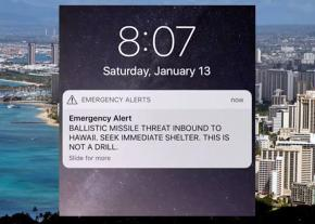 The false alarm about an impending missile strike went out via text message