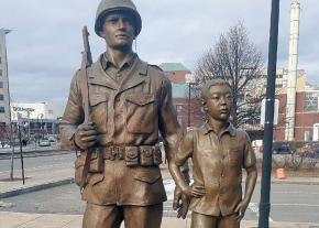 A Korean War memorial in Worcester, Massachusetts, depicts U.S. troops as saviors
