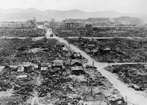 Total devastation in the wake of the atomic bombing of Nagasaki, Japan