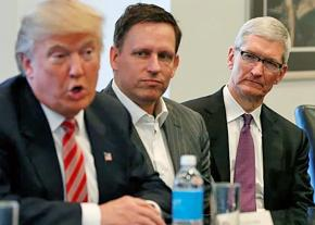 Apple CEO Tim Cook (right) and Palantir Chairman Peter Thiel (center) meet with Donald Trump