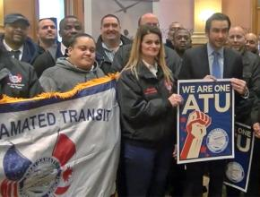 Amalgamated Transit Union members at a Transit Equity Day event unveiling a local initiative in Jersey City