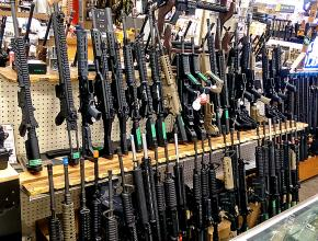 Assault rifles displayed for sale in Salt Lake City, Utah