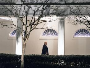 Donald Trump walks down the West Colonnade of the White House