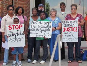 Residents of Uniontown, Alabama, protest the dumping of toxic waste in their community