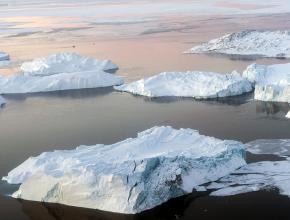 Melting ice sheets near Greenland