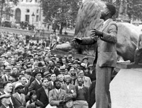 C.L.R. James speaks in London's Trafalgar Square in support of the Ethiopian anti-colonial struggle