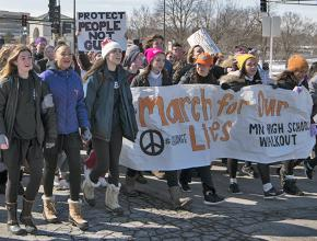High school students take to the streets of St. Paul, Minnesota, during the national walkout