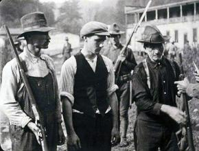 Striking coal miners after the Battle of Blair Mountain in West Virginia