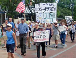 Activists march against the basing of F-35 warplanes in Vermont