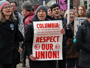 Graduate workers rally for union recognition at Columbia University