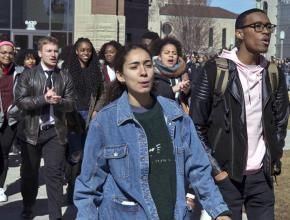 Student activists protest police brutality on the campus of Loyola University Chicago