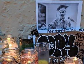 A shrine for police brutality victim Jesus Adolfo Delgado in San Francisco