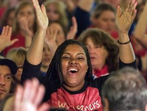 Striking teachers celebrate after the announcement of a victory in West Virginia