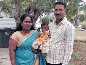 Tamil refugees Priya (left) and Nades with their daughter Dharuniga