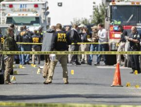 The crime scene in Austin, Texas, after the explosion of a deadly package bomb