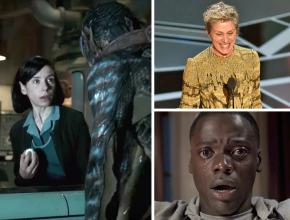Clockwise from left: The Shape of Water, Frances McDormand at the Oscars ceremony, and Get Out