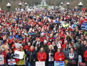 Kentucky teachers rally outside the Capitol building in Frankfort