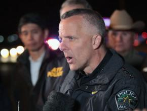 Austin Police Chief Brian Manley fields questions from reporters