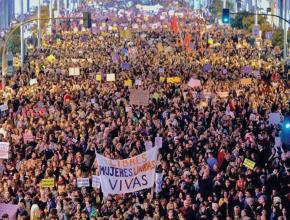 Masses of people pour into the streets of Madrid for International Women's Day