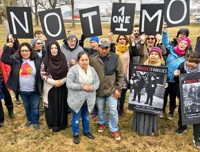 Immigrant rights activists rally outside the Batavia Immigration Detention Center in upstate New York