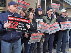 A Teamsters protest against pharmaceutical companies peddling opioids