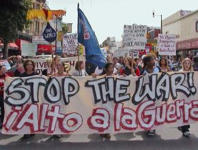 Marching against the bombing of Afghanistan in San Francisco in 2001