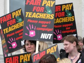 Members of Britain's National Union of Teachers hold a day of action for fair pay