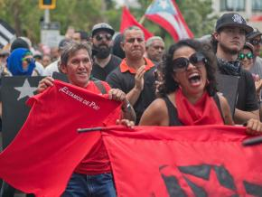 On the march in San Juan on May Day
