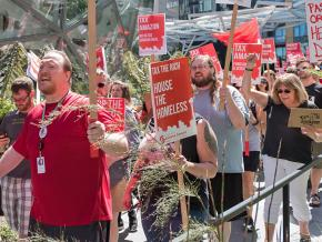 Protesters demand taxes on Amazon and other large corporations in Seattle