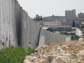 The Israeli apartheid wall cuts through the Aida refugee camp in the West Bank
