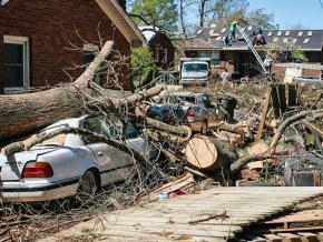 Residents at work rebuilding on the East Side of Greensboro, North Carolina