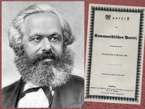 Left to right: Karl Marx; front of the first edition of the Communist Manifesto