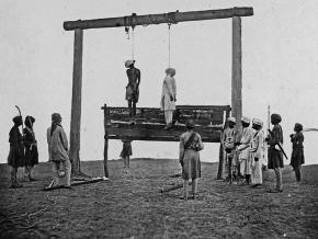 An 1857 photo of the hanging of two mutineers in Lucknow, India