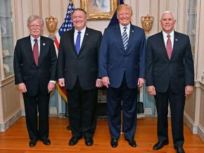 Left to right: National Security Advisor John Bolton, Secretary of State Mike Pompeo, Donald Trump and Vice President Mike Pence