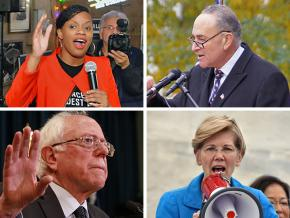 Clockwise from top left: Summer Lee, Chuck Schumer, Elizabeth Warren and Bernie Sanders