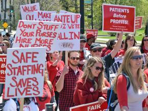 Nurses at the University of Vermont Medical Center rally for a fair contract