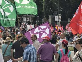 Anticapitalistas take part in a demonstration against state repression in Catalonia