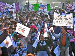 Mass protests in Mexico City against President Enrique Peña Nieto's gas price hikes