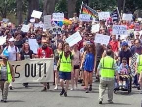 Opponents of the far right march in Boston