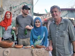 Anthony Bourdain (right) with his guides for an episode in Gaza