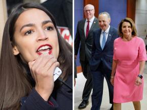 Left: Alexandria Ocasio-Cortez; right: Democratic leaders in Congress, with Rep. Joe Crowley (at left)