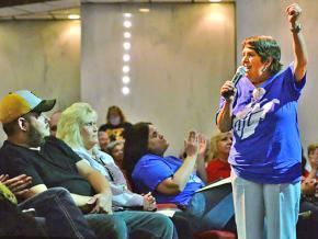 West Virginia teachers speak out at a public hearing in Charleston, West Virginia