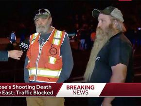 Two truck drivers speak to a TV reporter about the killing of Antwon Rose