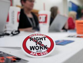 "Labor activists campaign against Missouri's anti-labor ""right to work"" law"