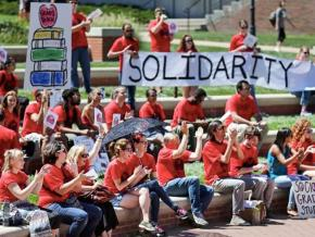 A demonstration in support of grad workers at the University of Missouri