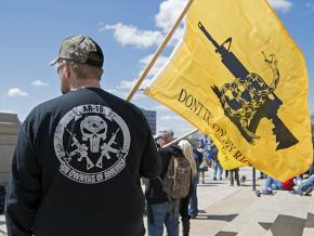NRA supporters rally outside the Minnesota state Capitol against gun control legislation