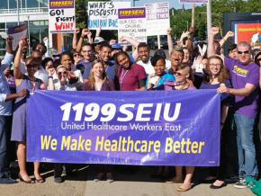 Workers at the Whittier Street Health Center in Roxbury, Massachusetts, celebrate a hard-fought union victory