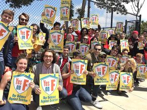Members of the Democratic Socialists of America in San Francisco campaign for a pro-tenant ballot initiative