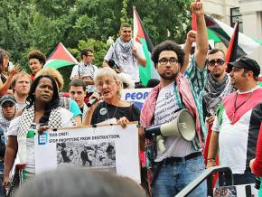 Student activists lead a rally against Israeli apartheid