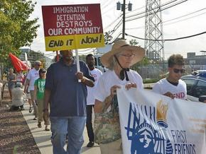 On the march against ICE detentions at the Hudson County jail in New Jersey